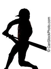 silhouette, oscillazione baseball, inizio