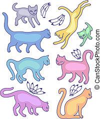 silhouette, otto, gatto