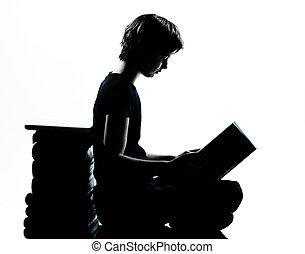 silhouette, ou, girl, adolescent, garçon, une, caucasien, lecture, jeune
