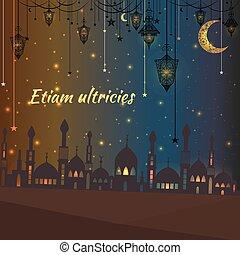 silhouette, ouderwetse , moskee, groet, lantaarns, sterretjes, kaart
