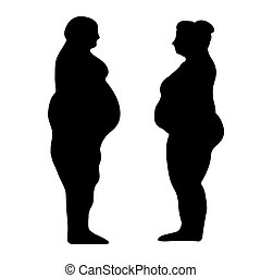 silhouette outline of a fat men and women