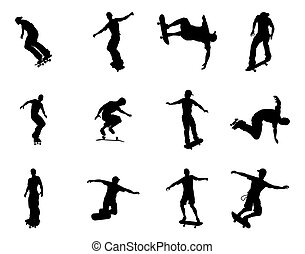 Silhouette outlines of skating skat