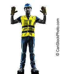 silhouette, ouvrier, arrêt, construction, signaler, geste