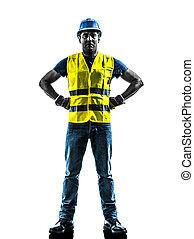 silhouette, ouvrier construction, gilet, sécurité, debout