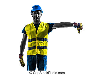 silhouette, ouvrier construction, gilet, sécurité, signaler, inférieur, boom