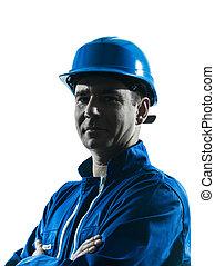 silhouette, ouvrier construction, homme, portrait