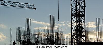 silhouette, ouvrier construction