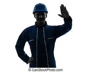 silhouette, ouvrier, construction, saluer, portrait, homme