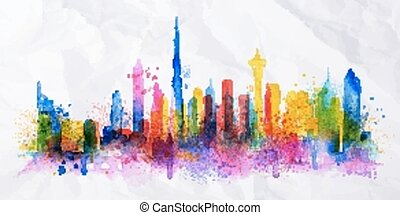 Silhouette overlay city