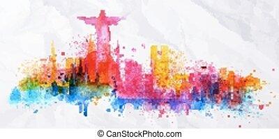 Silhouette overlay city