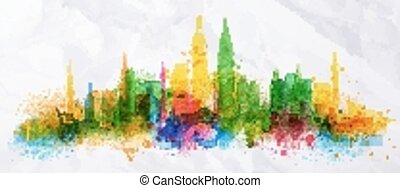 Silhouette overlay city Kuala Lumpur