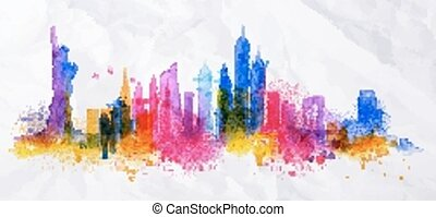 Silhouette overlay city New york - Silhouette overlay city...