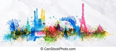 Silhouette overlay city Paris - Silhouette overlay city with...