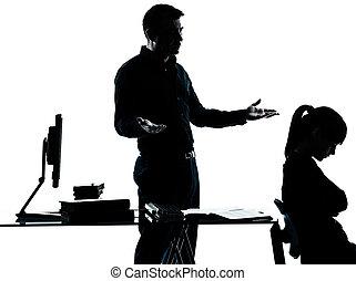 silhouette, père, adolescent, étudiant, girl, prof, devoirs, homme