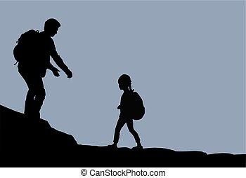 silhouette, père, child.
