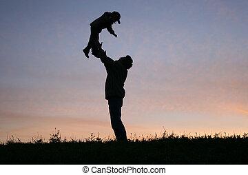 silhouette, père, enfant