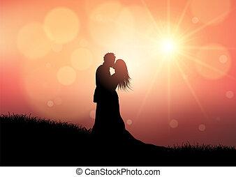 silhouette, paar, 0709, ondergaande zon , achtergrond, trouwfeest
