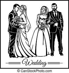 silhouette, paar, bruidegom, -, bruid, vector, trouwfeest, liggen