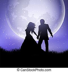silhouette, paar, hemel, tegen, 0709, trouwfeest, moonlit