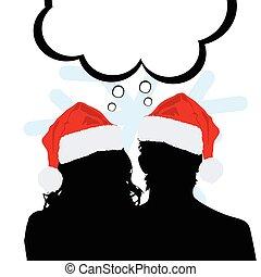silhouette, paar, illustratie, jaar, nieuw, hoedje, rood