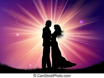 silhouette, paar, starburst, 0709, hintergrund, wedding