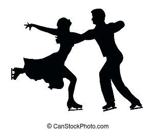 silhouette, paar, zurück, eis, umarmung, skater, tritt