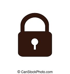 silhouette padlock security icon flat