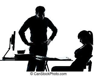 silhouette, padre, adolescente, studente, ragazza, insegnante, compito, uomo