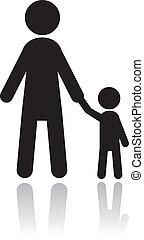 silhouette, padre, figlio