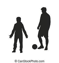 silhouette, padre, football., figlio, vettore, gioco