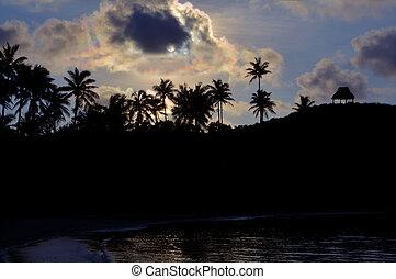 silhouette, paesaggio, di, uno, remoto, spiaggia tropicale,...