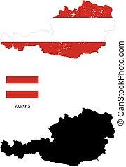 silhouette, paese, bandiera austria, sfondo nero
