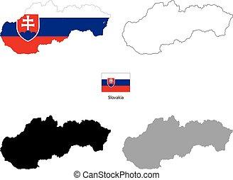 silhouette, paese, bandiera, sfondo nero, slovacchia