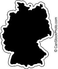 silhouette, paese, etichetta, effetto, illustrazione, linea., vettore, nero, label., adesivi, germania, contorno