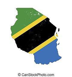 silhouette, paese, tanzania, isolato, bandiera, fondo, ...