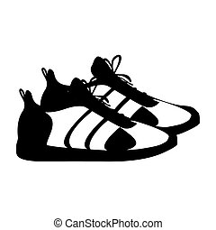 silhouette pair black fitness sneakers design icon