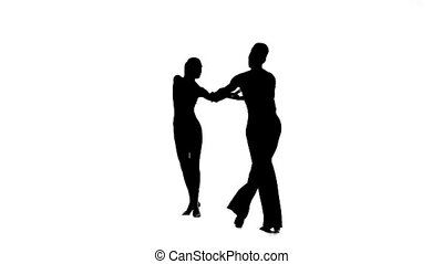 Silhouette pair dancers perform ballroom dance, white...