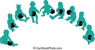 silhouette, palla, -, gioco, bambini