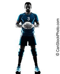 silhouette, pallavolo, uomo