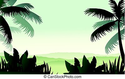 Silhouette palm on forest scenery