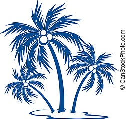 Silhouette Palm trees with coconuts. One-colour vector...
