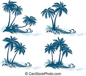 silhouette, palma, paesaggi, albero