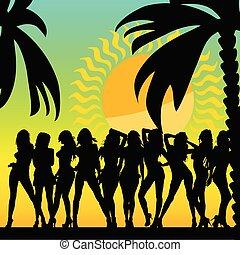 silhouette, palme, ilustration, ragazze, caldo, vettore, ...