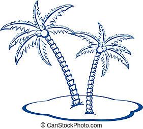 silhouette, palmen