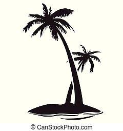 silhouette, palmeninsel