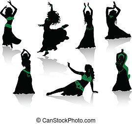 silhouette, pancia, bellezza, dance.