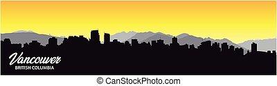 silhouette, panorama, colombie, fond, britannique, horizon, ...
