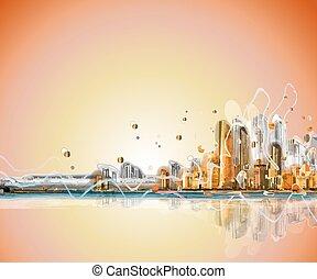 silhouette, panorama., coloré, ville