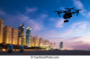 silhouette, panorama, voler, dubaicity, bourdon, au-dessus