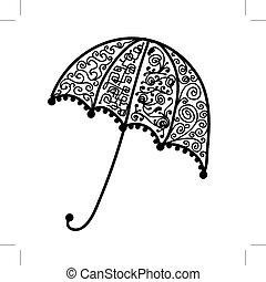 silhouette, parapluie, noir, conception, orné